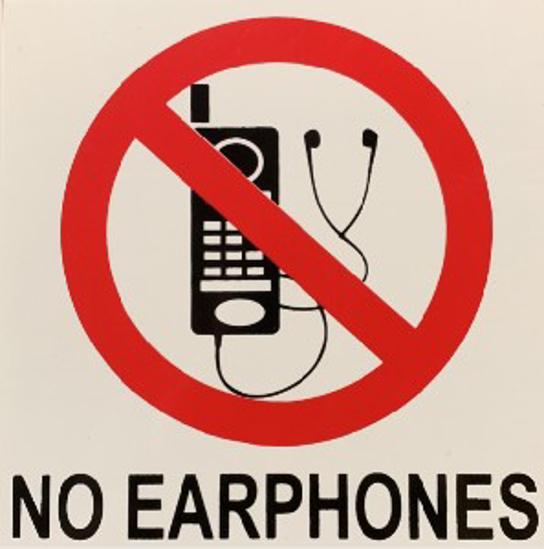 Picture of SIGN-NO EARPHONES *290